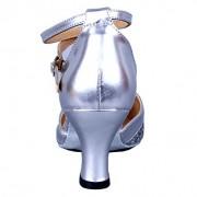Honeystore Damen's Pailletten Runde Toe Latein Tanzschuhe Silber 39.5 EU