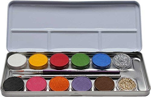 Eulenspiegel Schminkpalette aus Metall, 2 Glitzer, 2 Pinsel, 10 Farben